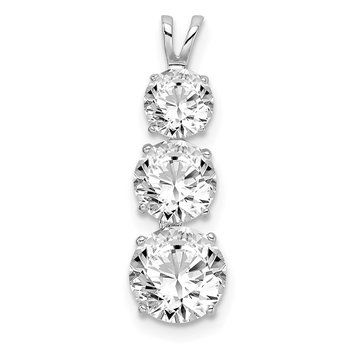 Sterling Silver Rhodium-plated Polished CZ Round Shaped 3 Stone Pendant