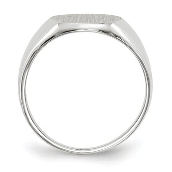 14k White Gold 12.5x11.0mm Open Back Signet Ring