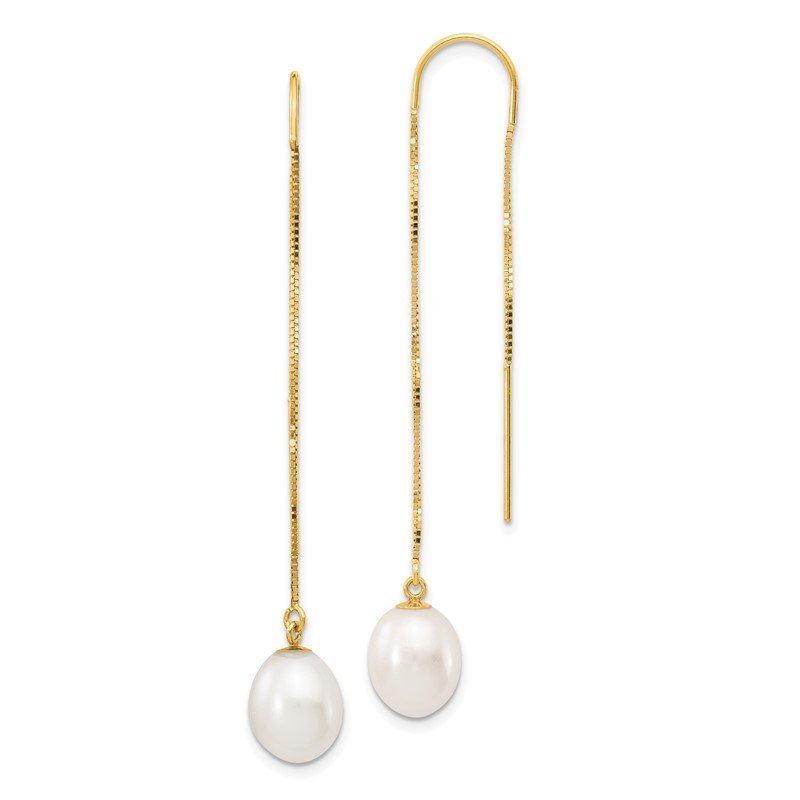 Quality Gold 14k 7-8mm White Rice FW Cultured Pearl Box Chain Threader Earrings