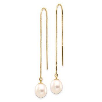 14k 7-8mm White Rice FW Cultured Pearl Box Chain Threader Earrings