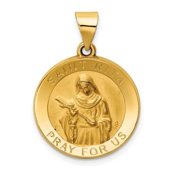 14K Polished / Satin St. Rita Hollow Medal Pendant