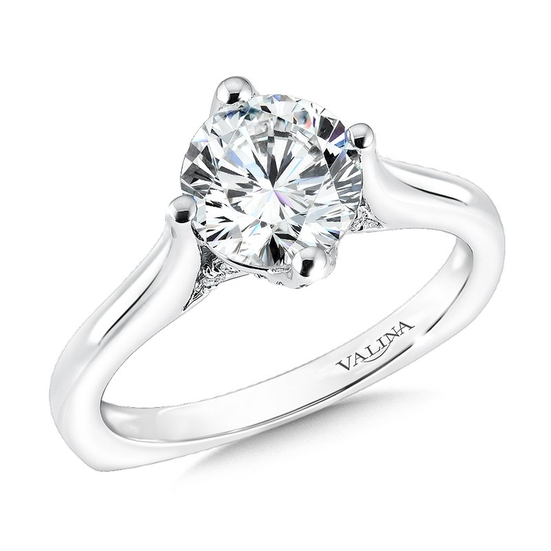 Valina Bridals Mounting with side stones .11 ct. tw., 1 1/2 ct. round center.