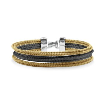 Yellow & Black Cable Triple Stack Bracelet