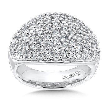 Pave Round Diamond Ring in 14K White Gold