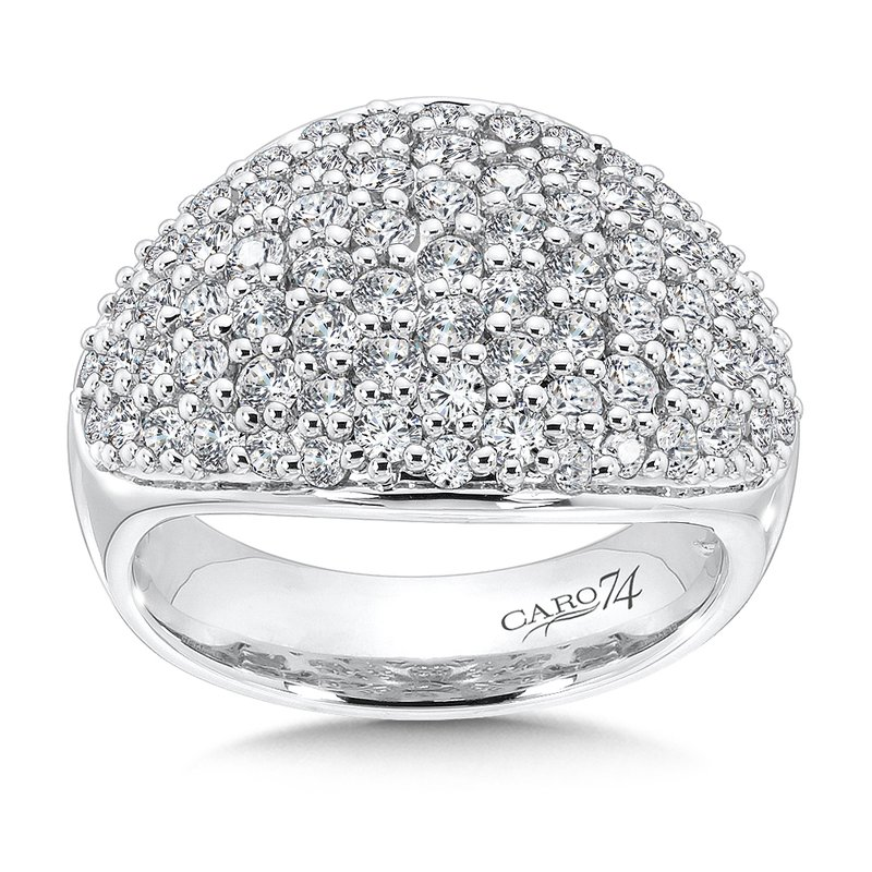 Caro74 Pave Round Diamond Ring in 14K White Gold