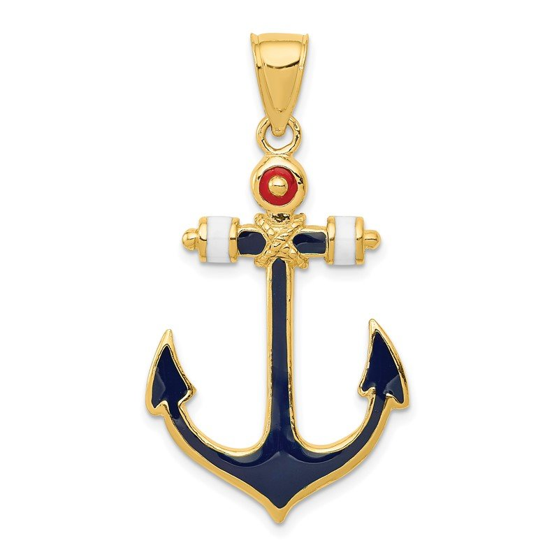Quality Gold 14K 2-D Red, White, and Blue Enameled Anchor Pendant