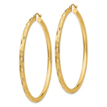 14k Diamond-cut Hoop Earrings