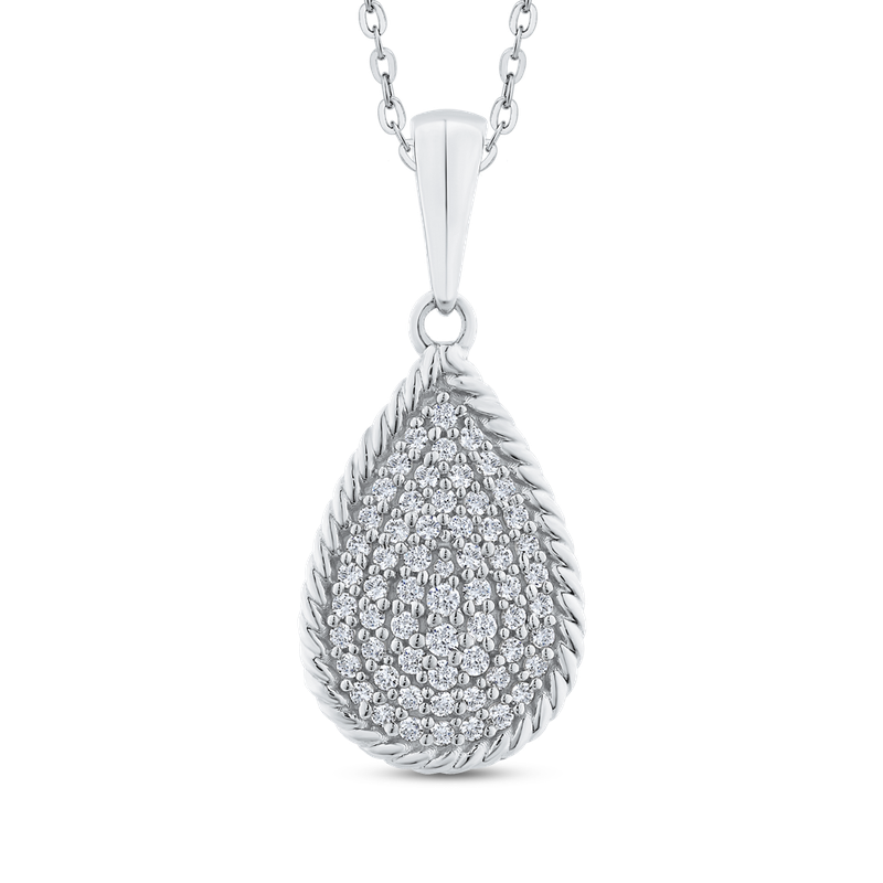 Round Cut Diamond Tear Drop Cluster Pendant