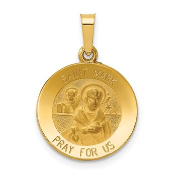 14k Polished and Satin St Mark Medal Hollow Pendant