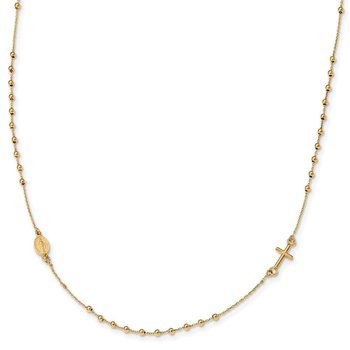 14k Polished Cross Rosary 16 inch Necklace