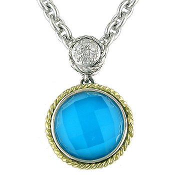 18kt and Sterling Silver Round Doublet Turquoise and Diamond Pendant with Chain