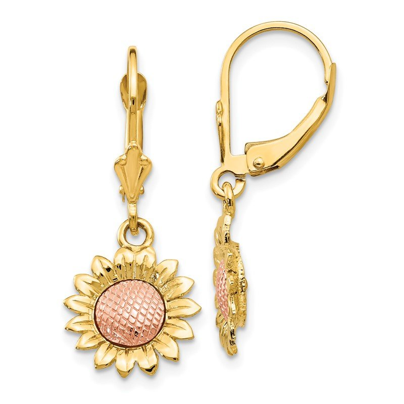 Quality Gold 14k Two-tone Polished Sunflower Dangle Leverback Earrings