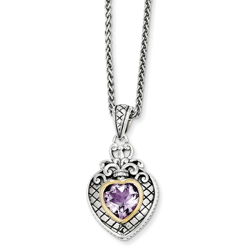 Shey Couture Sterling Silver w/14k Pink Quartz Heart Necklace
