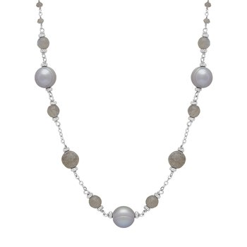 "Honora Sterling Silver 8-9mm Gray Ringed Freshwater Cultured Pearl Faceted Labradorite Bead 18"" Necklace"