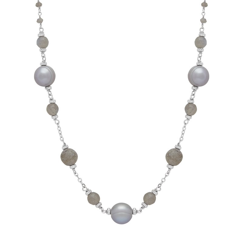"Honora Honora Sterling Silver 8-9mm Gray Ringed Freshwater Cultured Pearl Faceted Labradorite Bead 18"" Necklace"