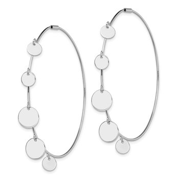 Sterling Silver Rhodium-plated Polished with Discs Hoop Earrings