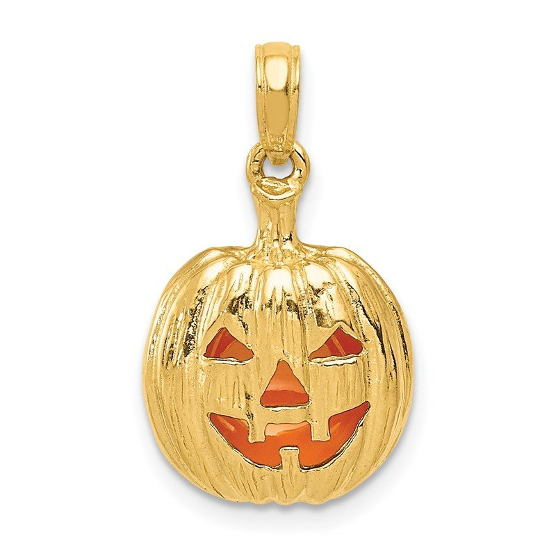 JC Sipe Essentials 14k Enameled Inside 3-D Cut-Out Pumpkin Pendant