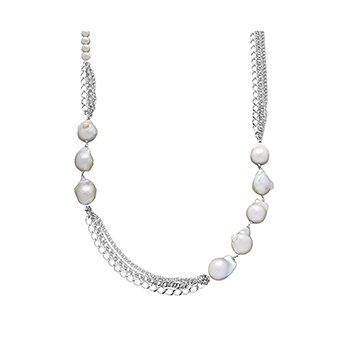 "Honora Sterling Silver 13-14mm White Baroque Freshwater Cultured Pearl Chain Station 36"" Necklace"