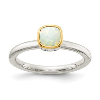 Sterling Silver w/ 14K Accent Milky Opal Ring