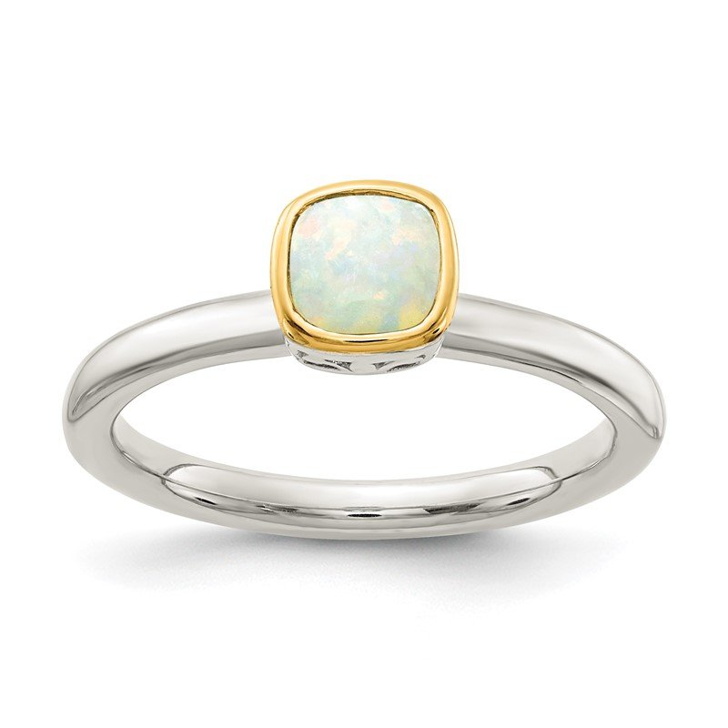 Quality Gold Sterling Silver w/ 14K Accent Milky Opal Ring