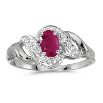 10k White Gold Oval Ruby And Diamond Swirl Ring