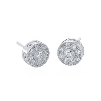White Gold & Diamond Pave Round Stud Earrings