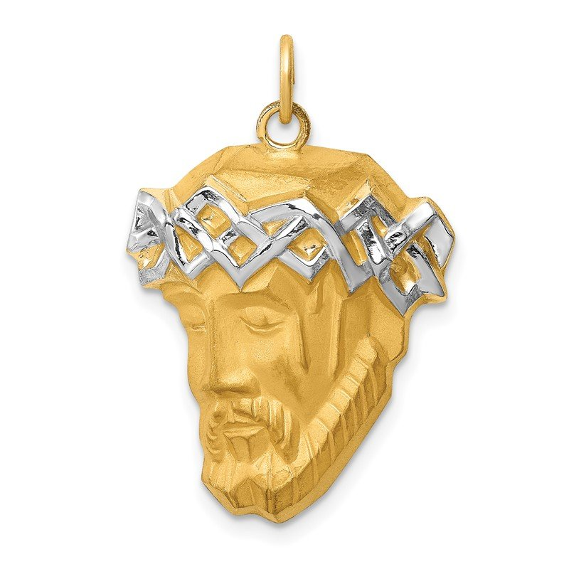Quality Gold 14K Hollow Polished/Satin w/Rhodium Large Jesus Medal