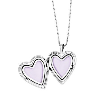 SS Rhod-plated Cross/Flowers Enamel Heart Locket & Pendant Necklace Set