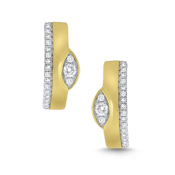 Miracle Marquise Set Diamond & Brushed 14Kt. Gold Mini Hoops