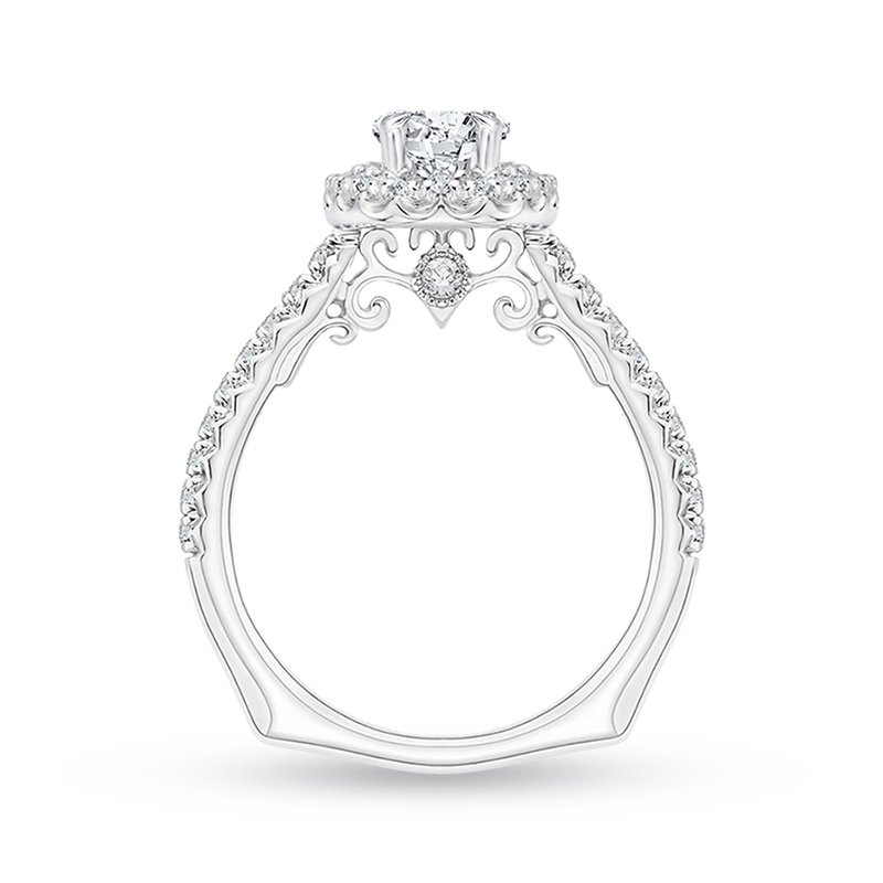 Carizza Oval Diamond Halo Engagement Ring In 14K White Gold (Semi-Mount)