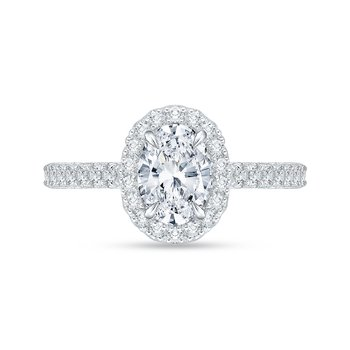 Oval Diamond Halo Engagement Ring In 14K White Gold (Semi-Mount)
