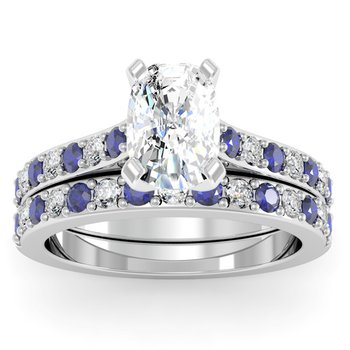 Pave Blue Sapphire & Diamond Cathedral Engagement Ring with Matching Wedding Band