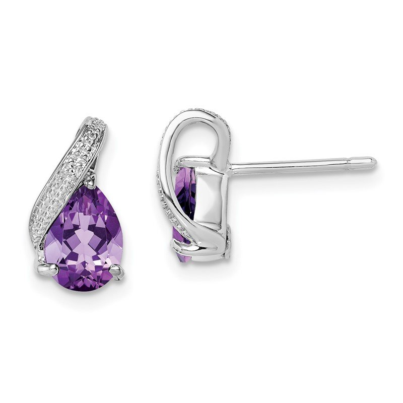 Quality Gold Sterling Silver Rhodium Plated Diamond and Amethyst Post Earrings