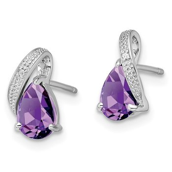Sterling Silver Rhodium Plated Diamond and Amethyst Post Earrings
