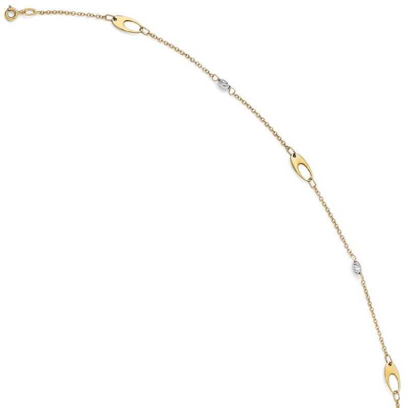 Leslie's Leslie's 14k Two-tone Polished and D/C Anklet w/1in ext