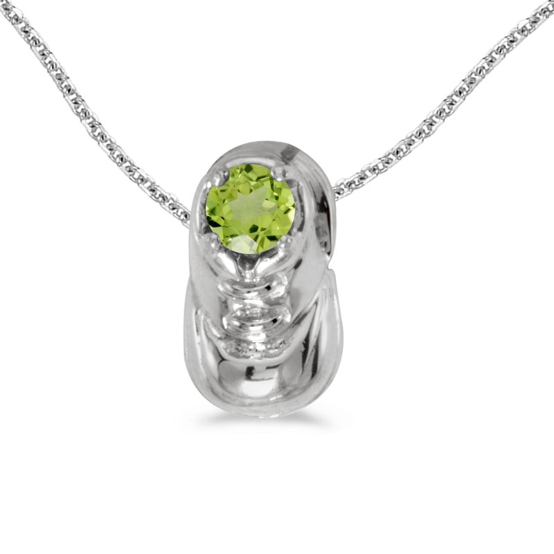 Color Merchants 10k White Gold Round Peridot Baby Bootie Pendant