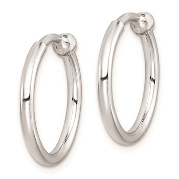 Sterling Silver RH-plated Polish 2x15mm Non-Pierced Hoop Earrings