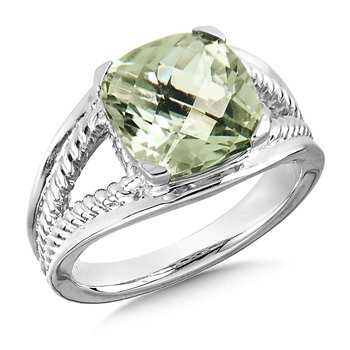 Sterling Silver Green Amethyst Split Shank Ring