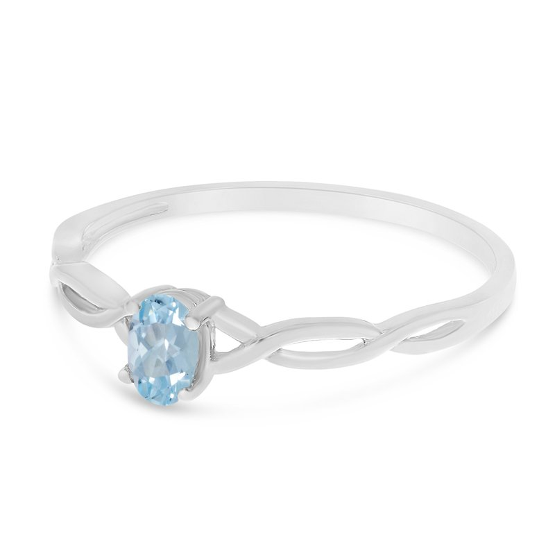 Color Merchants 10k White Gold Oval Aquamarine Ring