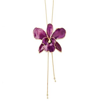 24K Gold-trim Lacquer Dipped Purple Cattleya Orchid Adj Gold-tone Necklace