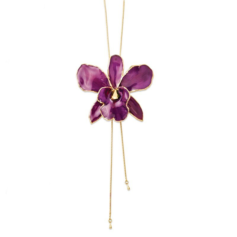 Quality Gold Lacquer Dipped Purple Cattleya Orchid Adjustable Necklace