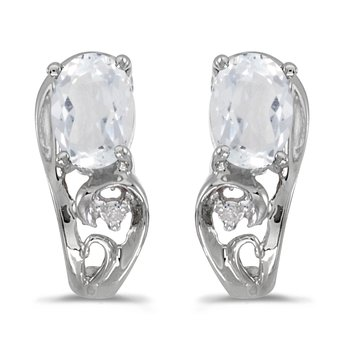 14k White Gold Oval White Topaz And Diamond Earrings