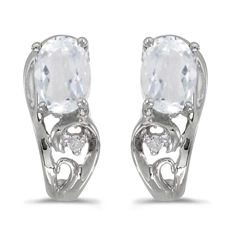 Color Merchants 14k White Gold Oval White Topaz And Diamond Earrings