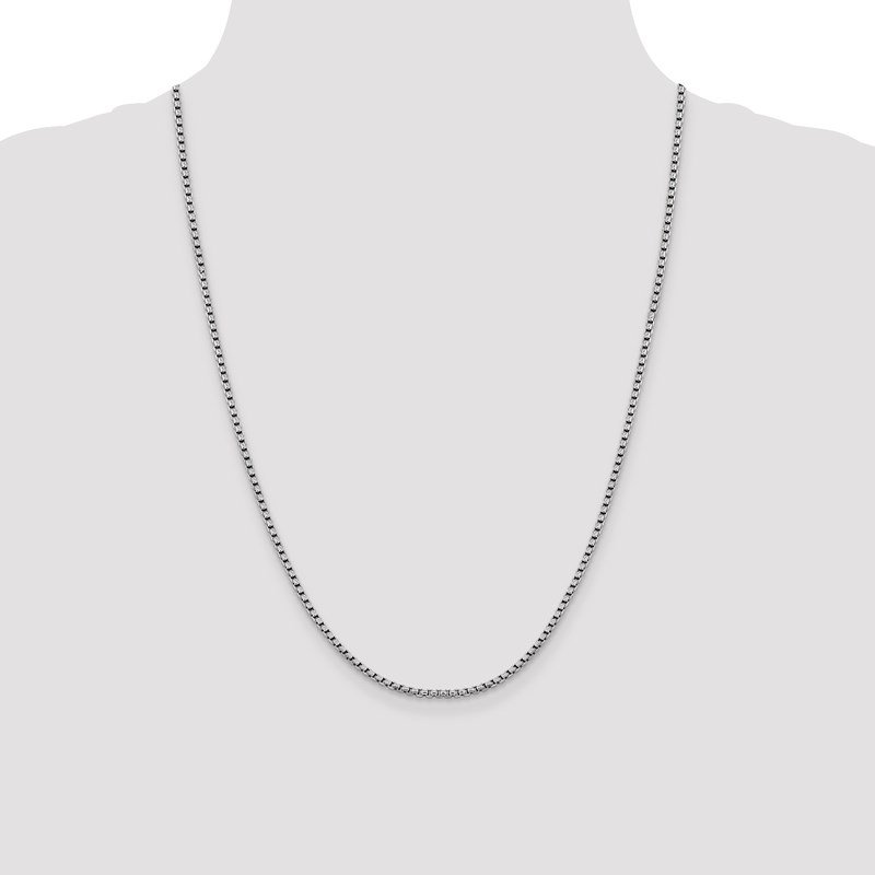Leslie's Leslie's 14K White Gold 2.4mm D/C Round Box Chain