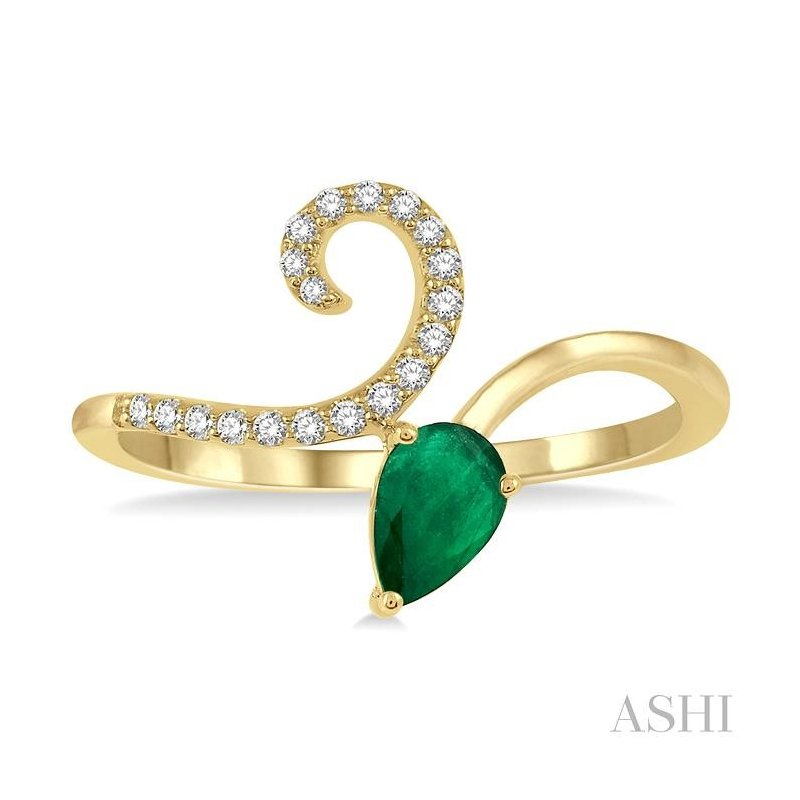 ASHI pear shape gemstone & diamond ring