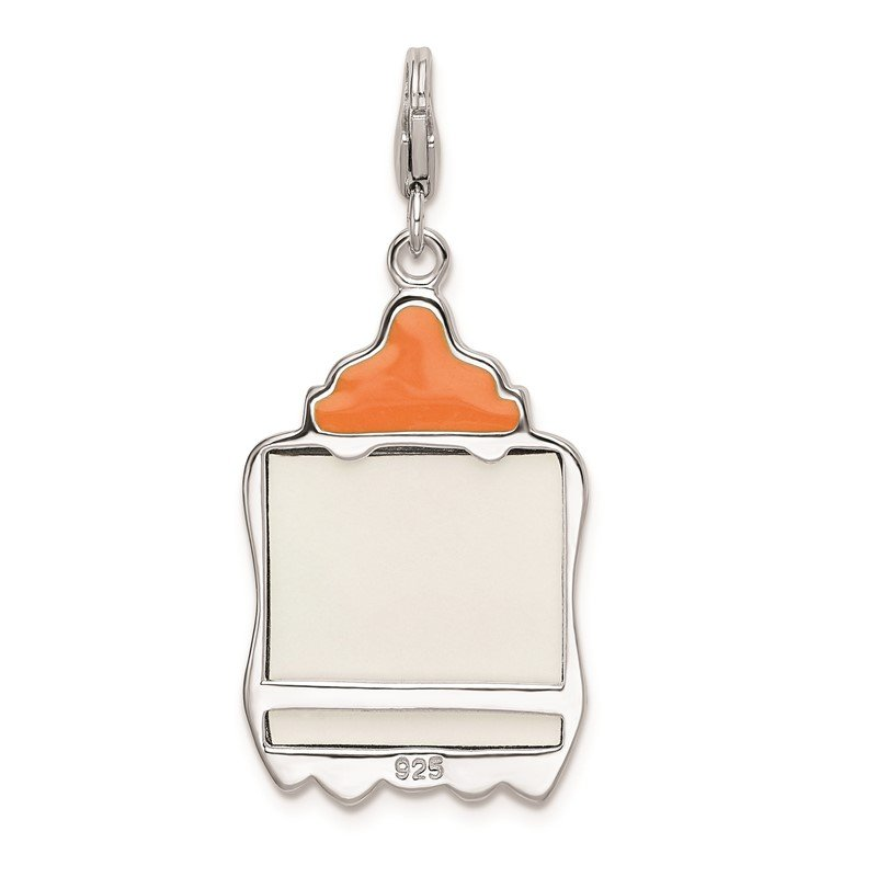 Quality Gold Sterling Silver Rhodium-plated w/Lobster Enameled Baby Picture Frame Charm