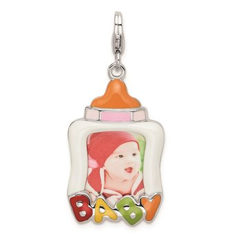 Sterling Silver Rhodium-plated w/Lobster Enameled Baby Picture Frame Charm