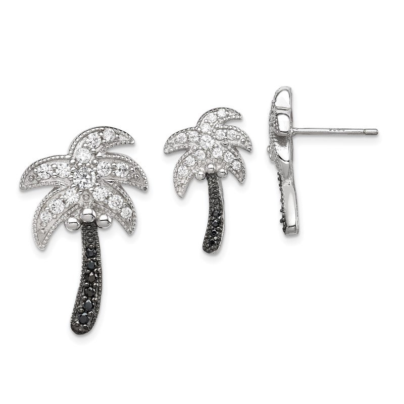 Quality Gold Sterling Silver Black & White CZ Palm Tree Slide Pendant and Post Earrings