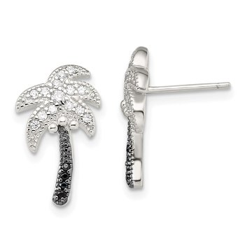 Sterling Silver Black & White CZ Palm Tree Slide Pendant and Post Earrings