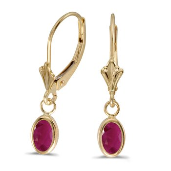 14k Yellow Gold Oval Ruby Bezel Lever-back Earrings